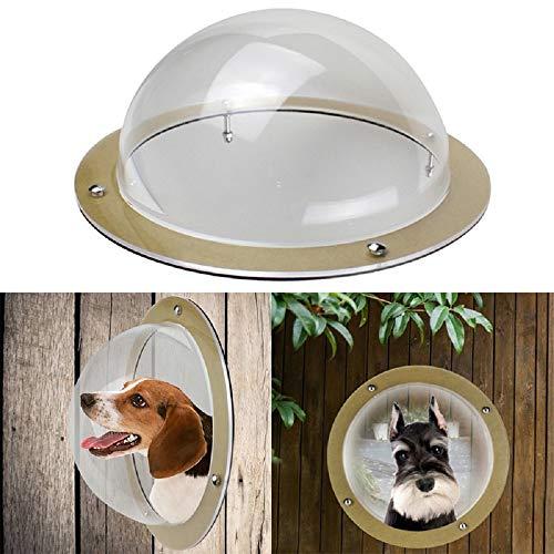 OLJF Mascotas Accesorios para Perros Vallado para Perros Ventana Gatos Perros Peek Burbuja Durable Acrílico Dome Ventana...