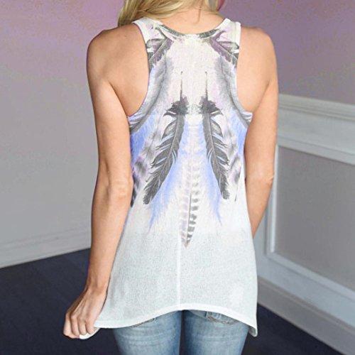 Tops Shirt Elegante Donne Donna Maglietta Senza Camicetta Camicetta Canotta Maniche Casual Blu UOMOGO Donne Bianco Estivi T qwH6gHSFn
