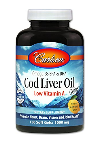 Carlson Cod Liver Oil, Low Vitamin A, 230 mg Omega-3s, Heart & Brain Health, 150 Soft Gels