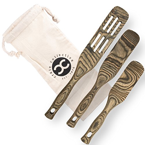 Crate Collective Pakkawood Kitchen Utensil Set - 3 Piece Cookware Set with Slotted Spatula & Spurtle - Non Stick, Eco Friendly, Exotic Cooking Utensils for Kitchen & Gifts (Piece Kitchen Utensil 3)