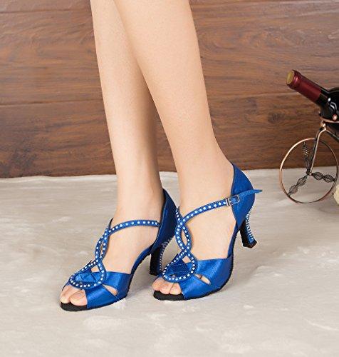 Miyoopark Womens Stiletto Heel Satin T-strap Sandals Latin Dance Shoes Blue i4CSirY5W