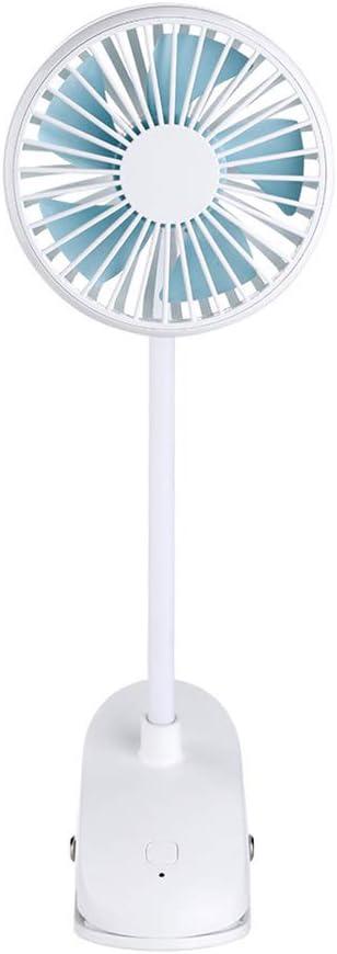 Ventilador de Clip de Mano Cochecito Recargable USB Ventilador pequeño Mini Ventilador de Clip de Escritorio silencioso Ajuste de 360 ° Ventilador de enfriamiento portátil con 2 velocidades,Blanco
