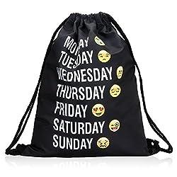 Bagerly Gym Sack Bag Drawstring Backpack Sport Bag Travel Backpack Sackpack (Smile Faces) (Black) (Black)