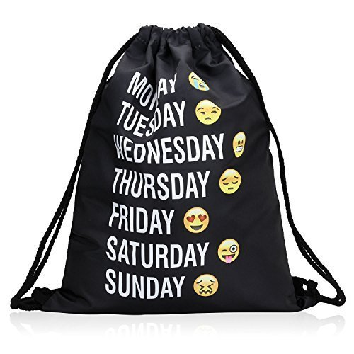 Bagerly Gym Sack Bag Drawstring Backpack Sport Bag Travel Backpack Sackpack (Smile Faces) (Black) - Made In Versace