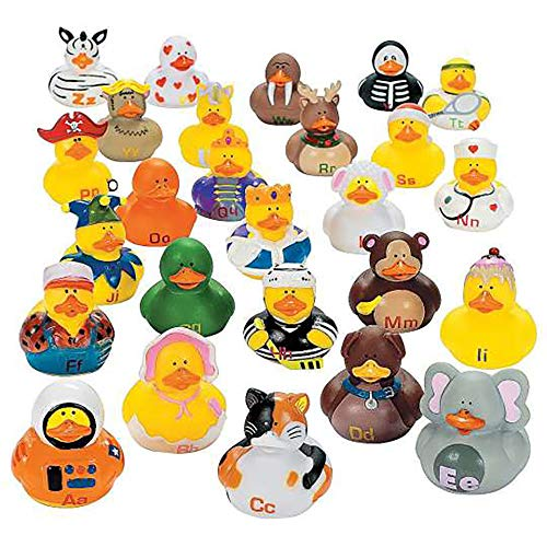 Kicko Alphabet Rubber Duck Toys – 26 Pieces Assorted Duckies for Kids Party Favors, on Birthdays, Baby Showers, All Time Favorite Bath Companion for Summer Beach and Pool Activity