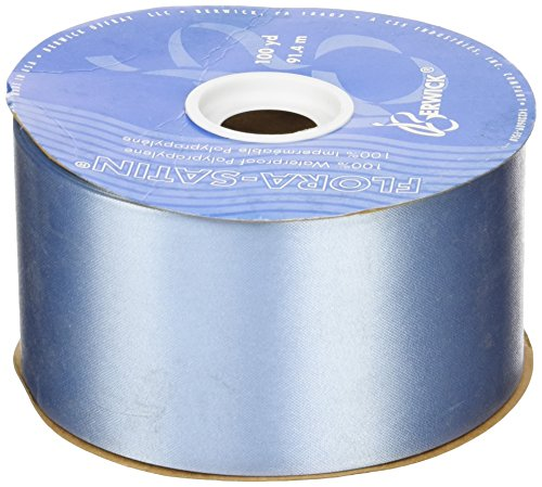 Blue Florists - Berwick 2-3/4-Inch Wide by 100-Yard Spool Flora Satin Craft Ribbon, Blue