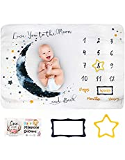 Faylor Baby Monthly Milestone Blanket Boy - Baby Photo Blanket for Newborn Baby Shower, Monthly Blanket for Baby Pictures, Includes Bandana Drool Bib + 2 Frames