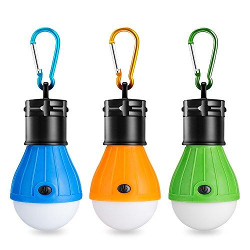 Eletorot LED Camping Lantern Portable Tent Lights Lantern Led Camping Light Camping Lamp Bulb 3 Modes Battery Powered for Camping Hiking Fishing Emergency Lights, 3 Packs