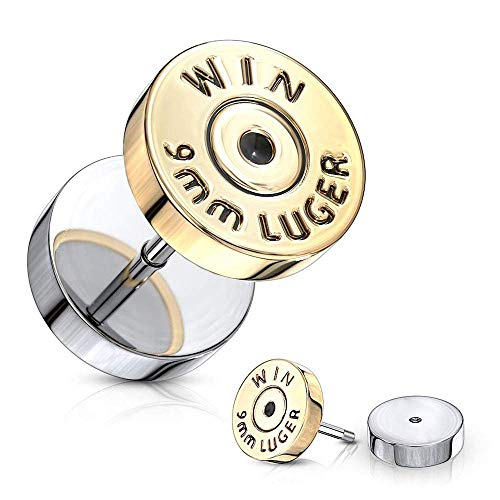 Covet Jewelry Bullet Gold IP 16 Gauge 316L Surgical Steel Fake Plugs