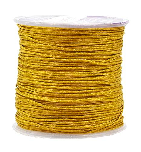 Mandala Crafts 1mm Satin Nylon Chinese Knot Rattail Macramé Beading Knotting Sewing Cord, 100M (Gold)