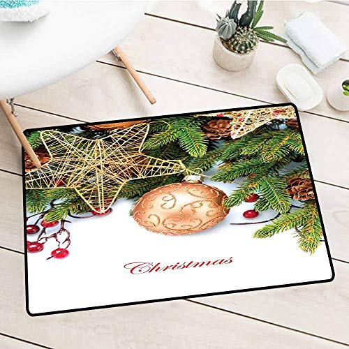 NineHuiTechnology Entry Way Outdoor Door Mat, Christmas, Holly Berries Tree Topper Baubles Vintage Seasonal Ornaments Pine Image, Bronze Ruby Emerald, 18