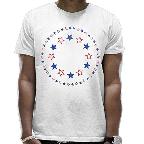 Youbah-01 Mens Patriotic Stars Cool Short Sleeve Tee ()