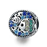 WOSTU 925 Sterling Silver Beach Sea Beads Blue Charms fit Charm Bracelets