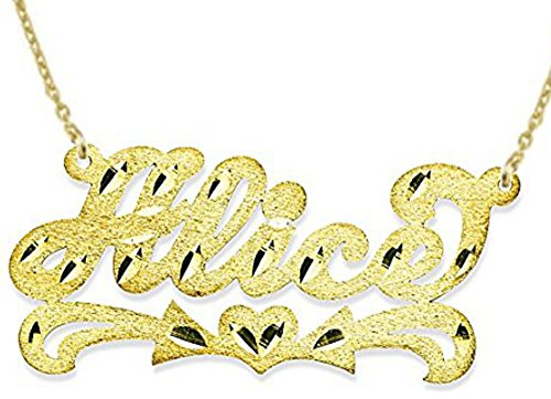 - Personalized Satin Finish Diamond Cut Nameplate Necklace 14K 14K White or 14K Yellow Gold. Special Order, Made to Order.