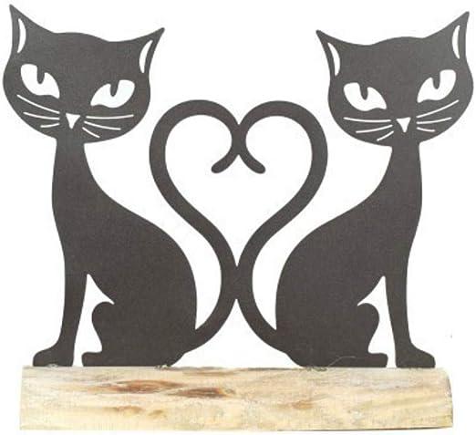 CAPRILO Figura Decorativa de Madera y Metal Gatos Corazón. Adornos ...