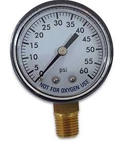 Spa Filter Pressure Gauge (Super Pro 80960BU Pool Spa Filter Water Pressure Gauge, 0-60 PSI, Bottom Mount, 1/4-Inch Pipe Thread)