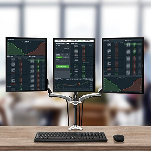 Duronic DM653 Gas Powered Triple LCD LED Desk Mount Arm Monitor Stand Bracket with Tilt and Swivel (Tilt -90°/-85°|Swivel 180°|Rotate 360°) - 10 Years Warranty