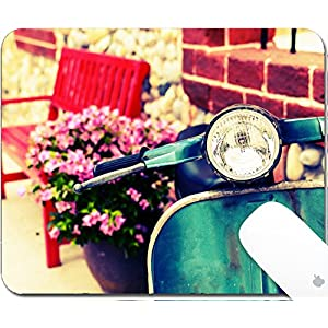 Luxlady Mouse Pad Natural Rubber Mousepad 9.25in X 7.25in IMAGE: 30990235 Close up classic motorcycle with red bench