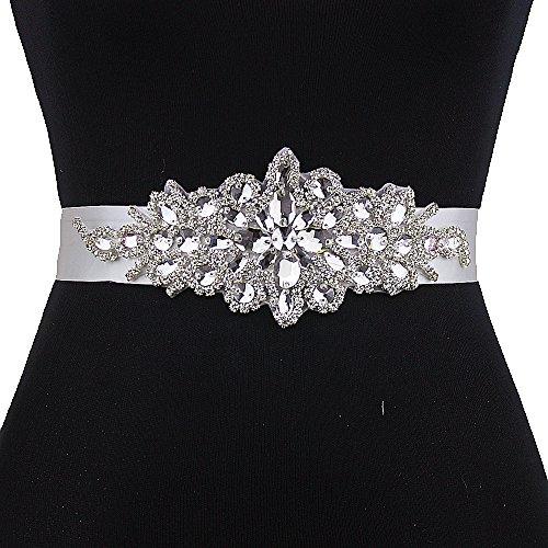 Top Queen Women's Crystal Embellished Satin Sash Style Bridal Sashes Belt Wedding Belts Sashes for Wedding (Black) - Satin Black Belt