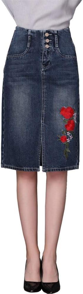 Falda elástica para mujer Falda de mezclilla apenada para mujer ...