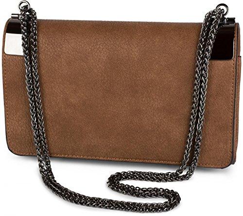 styleBREAKER Bolso de Mano Clutch, Bolso de Fiesta con pasadores de Metal y Cadena de eslabones, diseño Vintage, señora 02012046, Color:Burdeos-Rojo