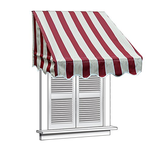 ALEKO WAW8X2MSTRRE19 Window Canopy Awning 8 x 2 Feet Multi-Stripe Red by ALEKO