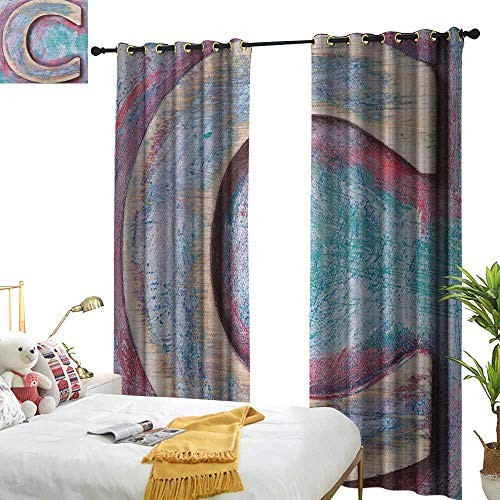 Littletonhome Blackout Curtains Letter C Natural Wood Timber Letter C Typeface Worn Rough Display Retro ABC Home Garden Bedroom Outdoor Indoor Wall Decorations W96 x L84 Teal Dark Coral Cream