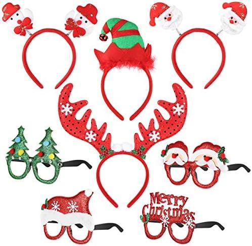 クリスマスカチューシャ4pcs クリスマスメガネ4pcs トナカイ クリスマスツリー サンタクロース 雪だるま