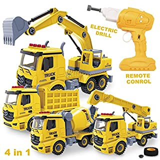 JOYIN 4-in-1 Take Apart Toys with Electric Drill Converts to 4 Types of Remote Control Car Trucks Construction Truck Toy for Boys