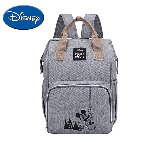 Disney Diaper Bag Backpack, Multifunction Travel Bag for Baby Care,Maternity Baby Nappy Bags, Large Capacity, Gray