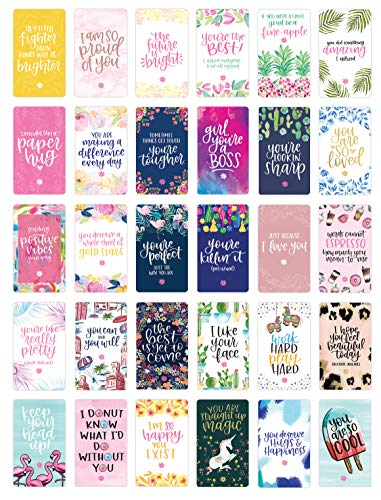 "bloom daily planners Encouragement Card Deck - Cute Inspirational Quote Cards - Just Because Cards - Set of Thirty 2"" x 3.5"" Cards - Assorted Designs"