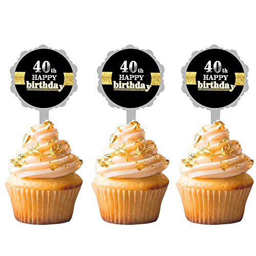 12 PCS JeVenis 40th Birthday Cake Topper Hello 40 Wedding Anniversary Party