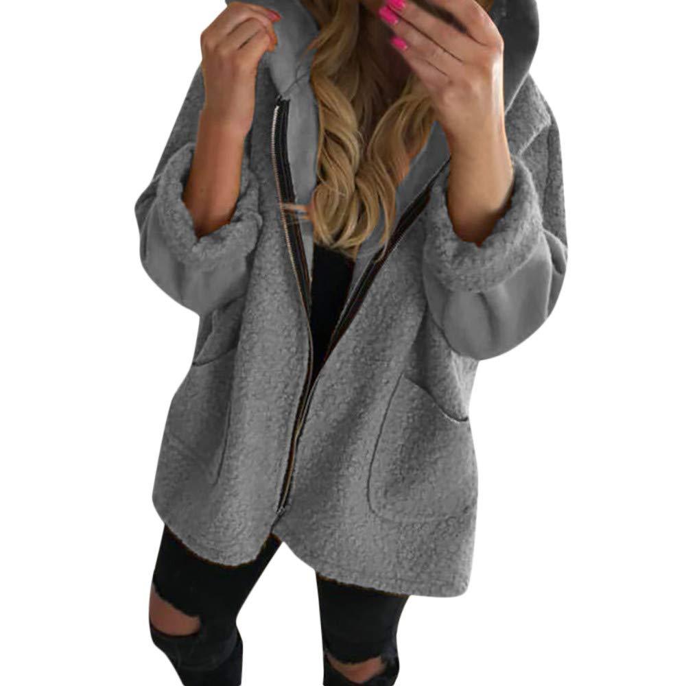 i-uend 2019 Damen Mantel, Damen Herbst Winter Mantel Lang Elegant Langarm Jacken Mit Kapuze Vintage Reiß verschluss Mischfarben Oversize Taschen Mä ntel