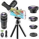 EWEIMA Phone Camera Lens Kit, 12x Telephoto Lens + Fisheye Lens + 0.65x Wide Angle Lens + Macro Lens + Star Filter Lens, Tripod + Remote Shutter for iPhone x 8 7 6s 6 plus, Samsung Huawei Smartphone