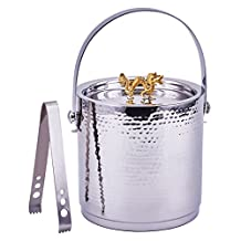 "Old Dutch International ""Dragon"" Handle Hammered Ice Bucket with Lid And Ice Tong, Stainless Steel"
