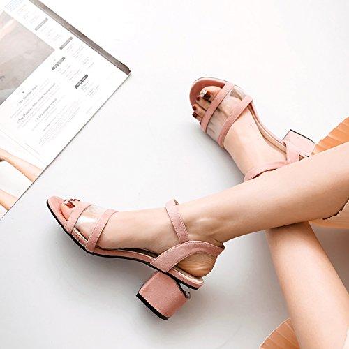 GAOLIM Zapatos De Mujer Con La Palabra 5-6Cm Bold Zapatos Y Sandalias De Tacón Alto RosaB
