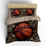 Customized Wood 3D Basketball Cotton Microfiber 3pc 90''x90'' Bedding Quilt Duvet Cover Sets 2 Pillow Cases Queen Size