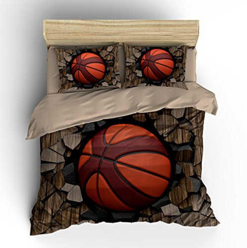 Customized Wood 3D Basketball Cotton Microfiber 3pc 90''x90'' Bedding Quilt Duvet Cover Sets 2 Pillow Cases Queen Size by DIY Duvetcover