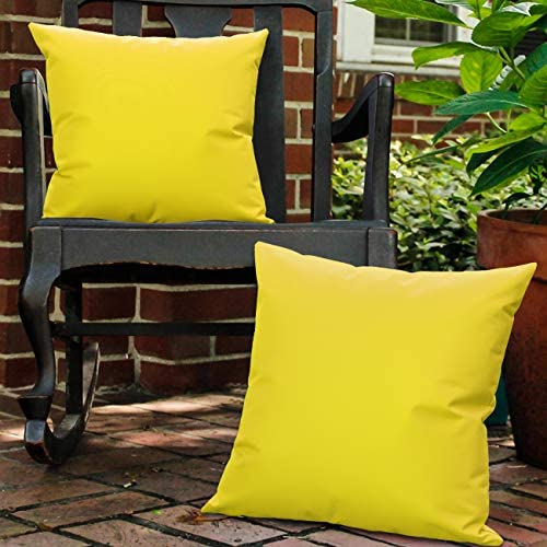 Lewondr Waterproof Outdoor Throw Pillow Cover, 2 Pack Solid PU Coating Throw Pillow Case UV Protection Garden Cushion Cover for Patio Sofa Couch Balcony 18 x18 45x45cm – Yellow