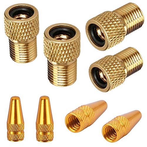 EPSVCSEWN Anodized Aluminum Alloy Bicycle Dust Covers Presta Tire Valve Caps and Copper Presta to Schrader Bike Car Valve Adaptor Tube Pump Air Compressor Tools (Gold)