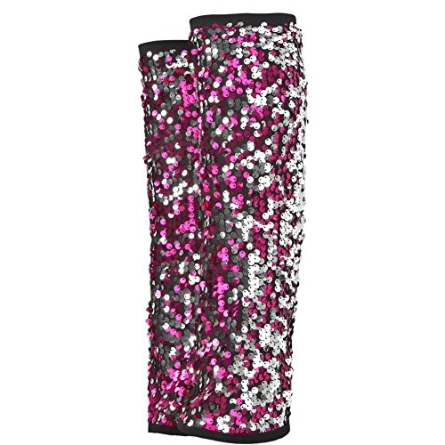 [Gia-Mia Dance Big Girls' 2-Tone Sequin Leg Warmer Jazz Costume Performance Team, Pink, One Size] (Dance Costumes Kids Jazz)