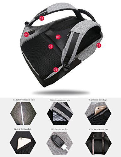 Bags Under Charging 15 6 Most Black Pack Theft Anti USB Ryden Backpack with Laptop School Multicolour Travel Inch Port Laptop Mark Business Fits YTUxUZw