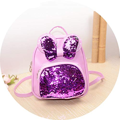 NEW Sequins Backpacks For Teenager Girls PU Shine Bowknot Backpack Glitter Large Girls Travel Shoulder Bags School Bags purple -