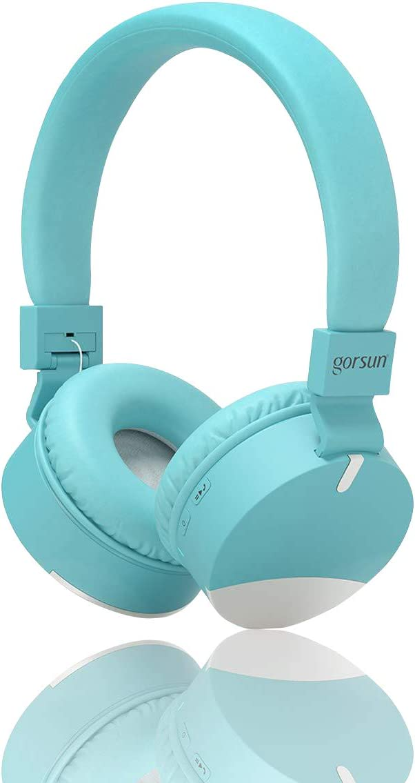 Kids Headphones,Gorsun Wireless Bluetooth Headphones for Kids with Microphone Over Ear Foldable Earphone Children Stereo Headset for Boys Girls Cellphone TV PC Tablets Blue