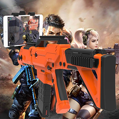 VR Bluetooth Game Gun for HTC VIVE,Game Pad Shooting Controller TPS FPS with Motor Vibration for 4 to 6 Inch Smartphone iPhone Samsung Tablet iPad Wireless Android,BENEVE(Orange) by BENEVE (Image #2)