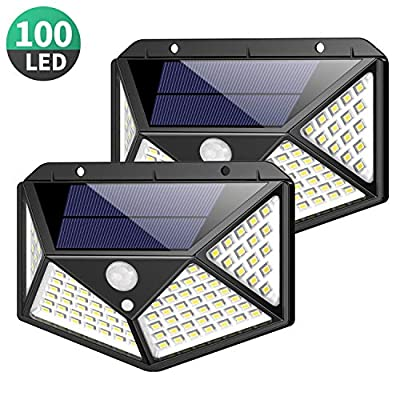 Solar Lights Outdoor 100 Led, Feob Upgraded Super Bright Motion Sensor Light with 270° Wide Angle, Wireless Waterproof Security Wall Lights for Front Door, Yard, Garage, Deck, Pathway, Porch(2 Pack)
