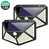 Solar Lights Outdoor 100 Led, Feob Upgraded Super Bright Motion Sensor Light with 270° Wide Angle,Wireless Waterproof Security Wall Lights for Front Door, Yard, Garage, Deck, Pathway, Porch(2 Pack)