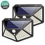 Solar Lights Outdoor 100 Led, Feob Upgraded Super Bright Motion Sensor Light