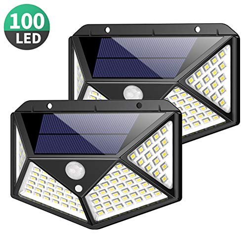 Solar Lights Outdoor 100 Led, Feob Upgraded Super Bright Motion Sensor Light with 270