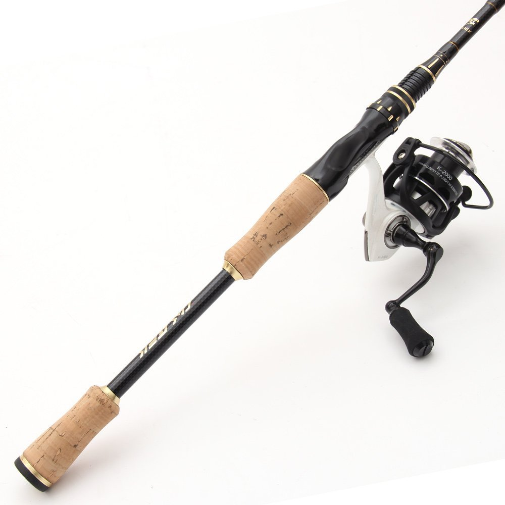 Entsport 2 Piece Spinning Rod With 3 Top Pieces Graphite